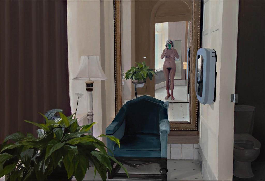 Portræt Nu! 2019, maleri af kvinde, der tager et billede af sig selv i et spejl