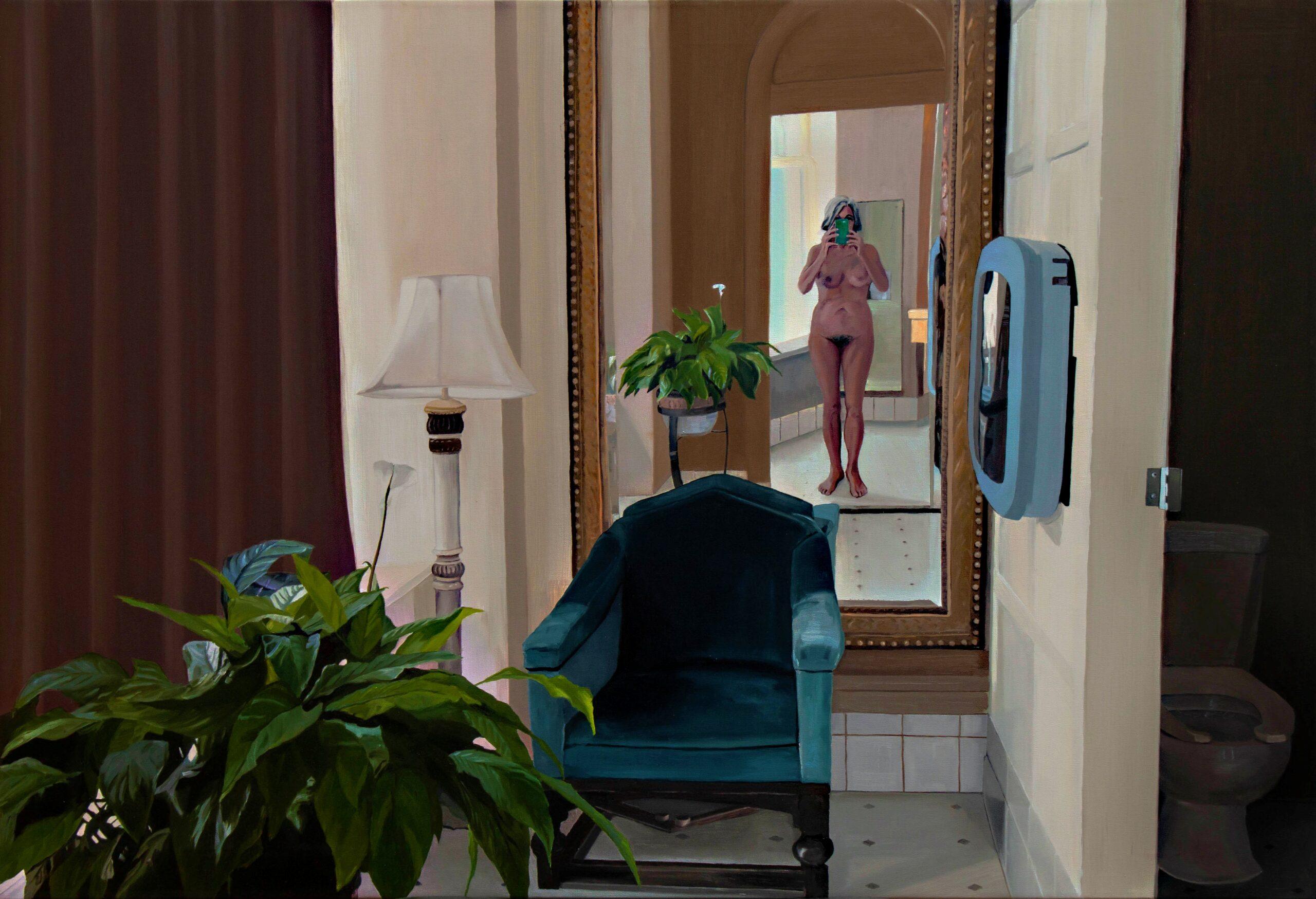 maleri af kvinde foran et spejl